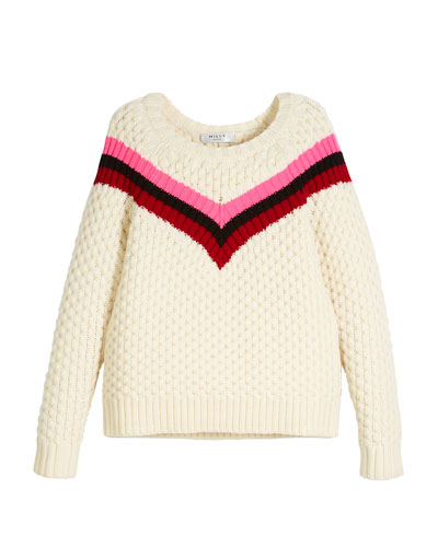 Chevron Stripe Merino Wool Sweater, Size 8-14