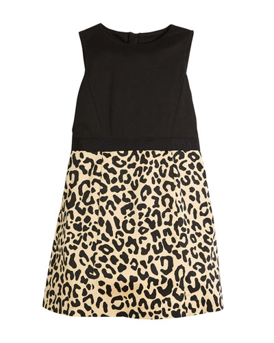 Panel Cheetah-Skirt Dress, Size 4-7
