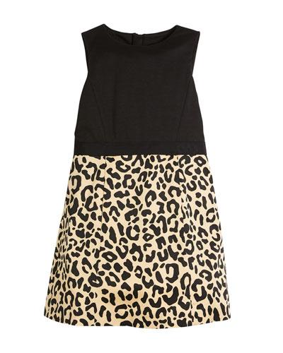 Panel Cheetah-Skirt Dress, Size 8-16