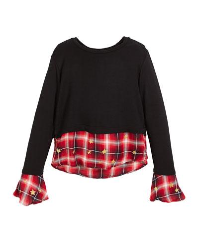 Drop-Shoulder Sweater w/ Peek Out Plaid Detail, Size S-XL