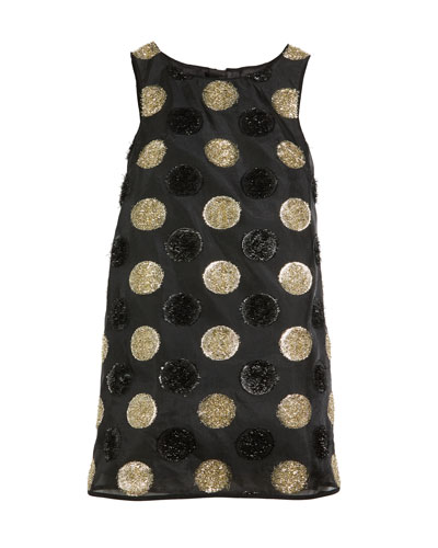 Textured Polka-Dot Angular Shift Dress, Size 4-7
