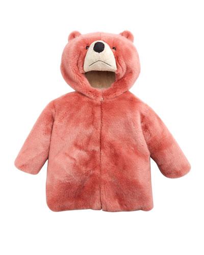Rosa Faux-Fur Teddy Bear Hooded Coat, Size 8-12