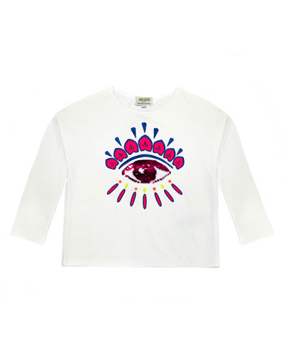 Long-Sleeve Flip Sequin Eye T-Shirt, Size 4-6