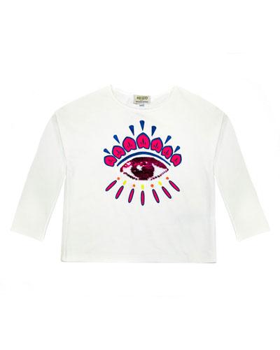 Long-Sleeve Flip Sequin Eye T-Shirt, Size 8-12