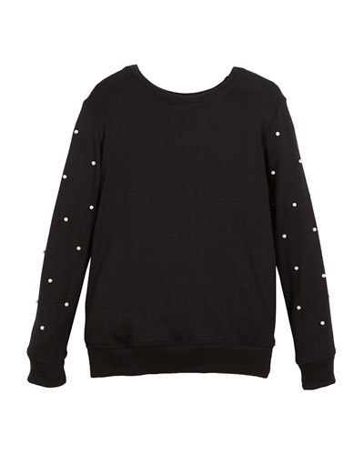 Long-Sleeve Top w/ Pearly Bead Trim, Size S-XL