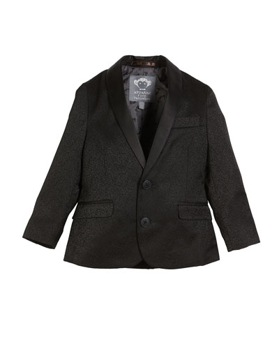 Appaman Boys' Jacquard Blazer w/ Satin Shawl-Collar, Size