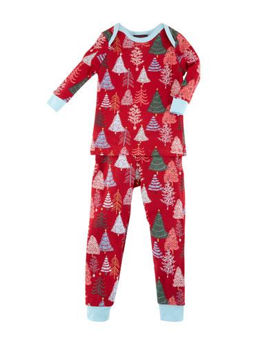 Bedhead Christmas Tree-Print Pajamas w/ Matching Hat, Size