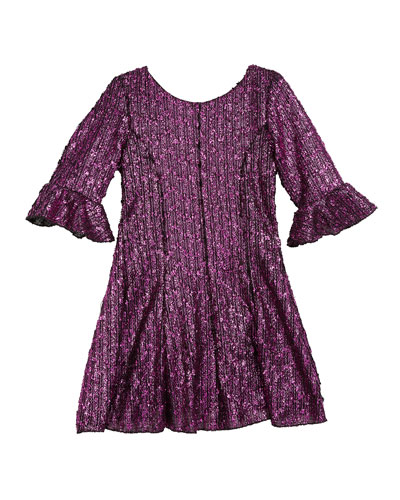 Viv Boucle Knit Fir-and-Flare Bell-Sleeve Dress, Size 7-16