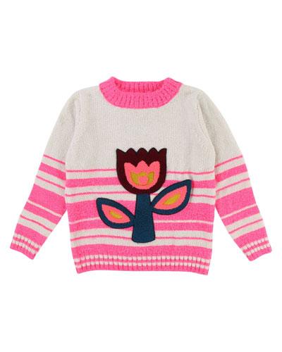 Striped Chenille Sweater w/ Tulip Applique, Size 4