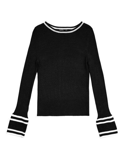 Rylie Two-Tone Rib Knit Bateau-Neck Sweater, Size 7-14