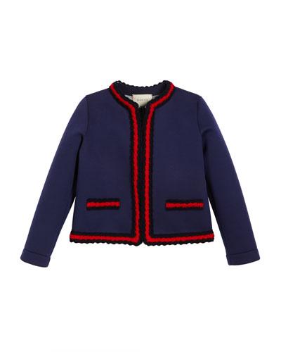 Gucci Neoprene Web-Trim Jacket, Size 4-12