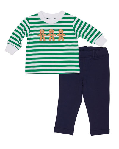 Florence Eiseman Striped Gingerbread Man Top w/ French