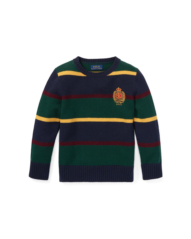 Ralph Lauren Childrenswear Kids' Merino Wool Multi-stripe Crest Sweater In Blue