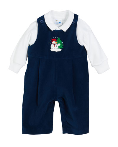 20c80bd5d9c Snowman Twill Velvet Overalls w  Solid Long-Sleeve Polo Shirt