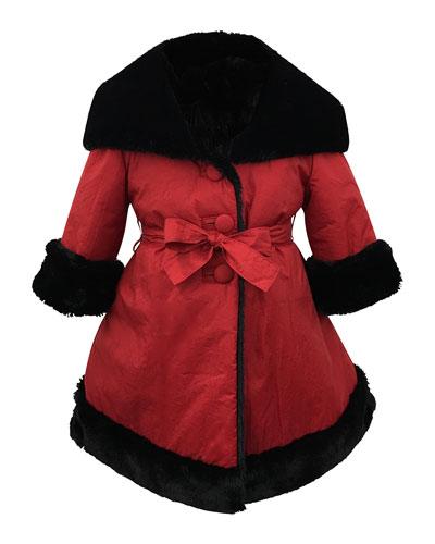 Faux-Fur Reversible Hooded Coat, Size 2-6