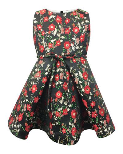 Sleeveless Floral Jacquard Dress, Size 12-18 Months