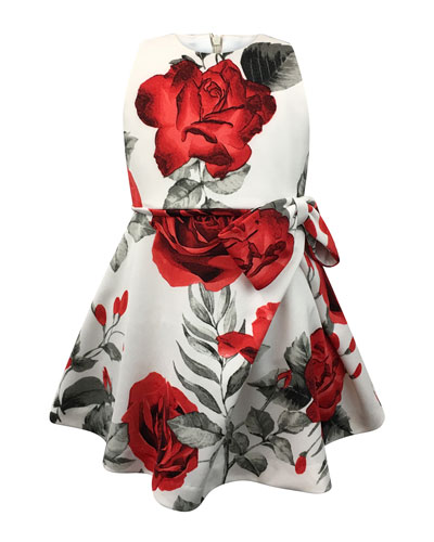 Rose-Print Bow Dress, Size 7-14