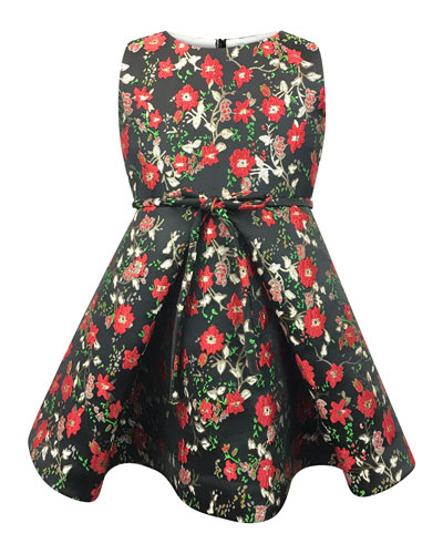 Sleeveless Floral Jacquard Dress, Size 7-14