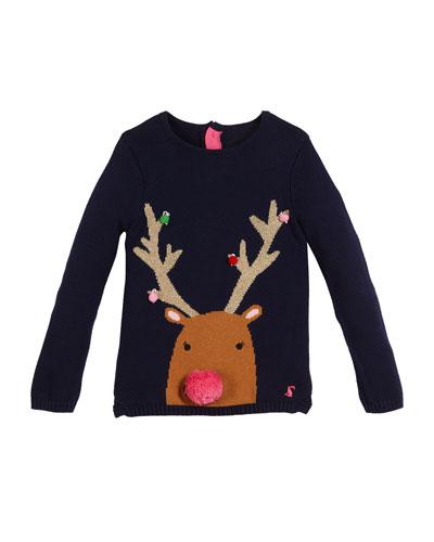 Meryl Reindeer Sweater w/ Yarn Pompoms, Size 3-8