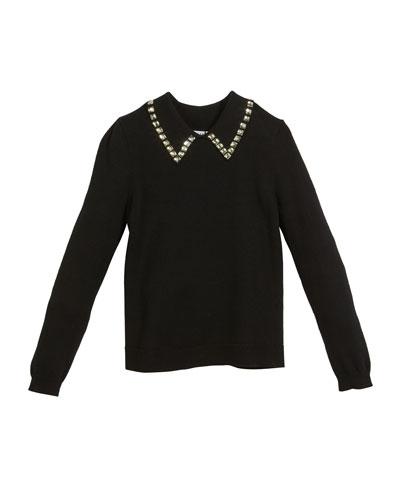 Rhinestone-Trim Pullover Sweater, Size 8-14