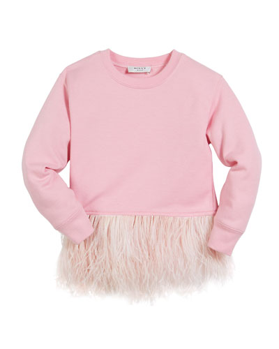 Feather-Hem Sweatshirt, Size 8-16