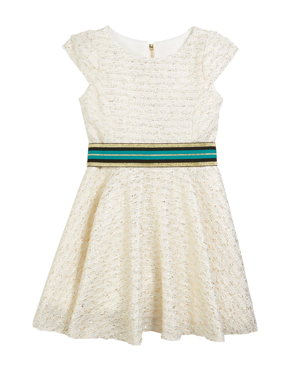 Zoe METALLIC BOUCLE KNIT DRESS W/ BELT