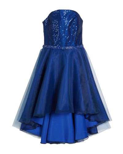 Sequin Embroidered & Organza High-Low Dress, Size 7-16