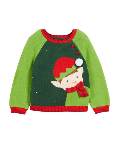 Kids' Colorblock Elf Intarsia Christmas Sweater, Size 12M-7