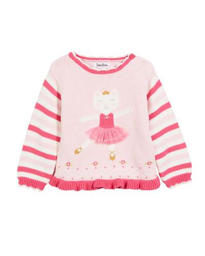 Kids' Ballerina Kitty Knit Sweater, Size 2T-10