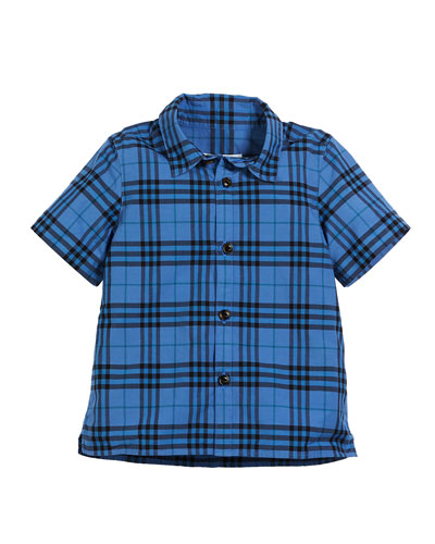 Sammi Dyed Check Short-Sleeve Collared Shirt, Size 3-14