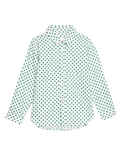 Jayce Polka-Dot Collared Shirt, Size 3-14