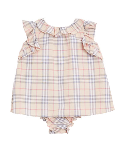 Carla Ruffle-Trim Check Dress w/ Bloomers, Size 3-18 Months