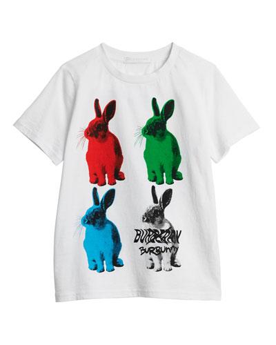 Bunny-Print Short-Sleeve Tee, Size 3-14