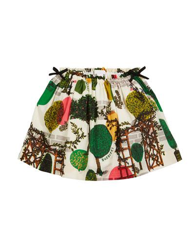 Kendil Garden-Print A-Line Skirt, Size 3-14