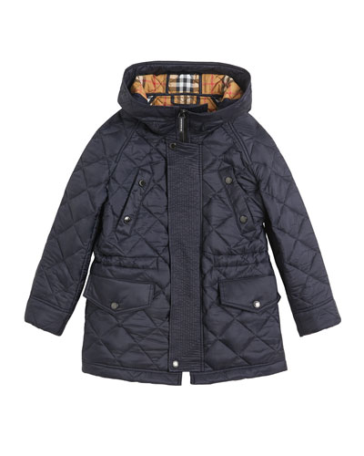 Tyle Diamond-Quilted Hooded Coat, Size 3-14