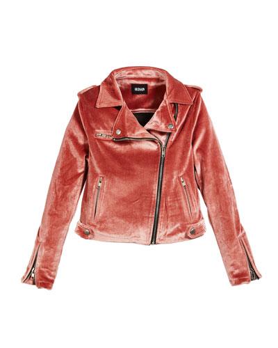 Girls' Nadia Velvet Moto Jacket, Size S-XL