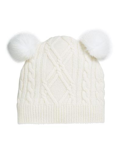 Argyle & Cable-Knit Cashmere Baby Hat w/ Fur Pompoms