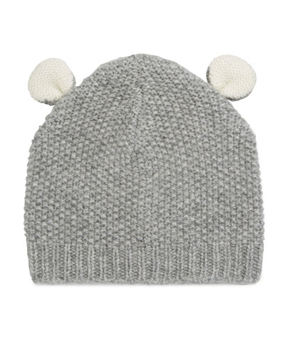 58757abddab Textured Knit Cashmere Bear Ears Baby Hat
