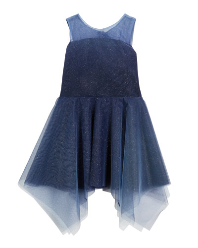 Ombre Shimmer Tulle Sleeveless Dress, Size 4-6X