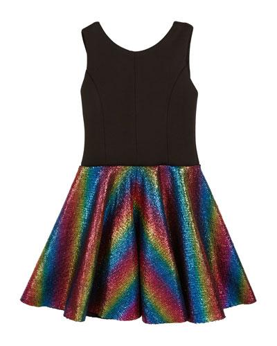 Sleeveless Dress with Foil Rainbow Skirt, Size 7-16