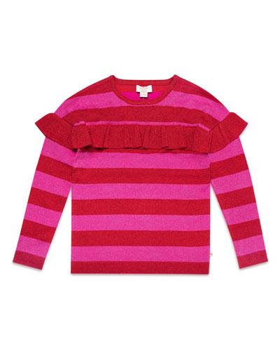 ruffle-trim metallic stripe knit sweater, size 7-14