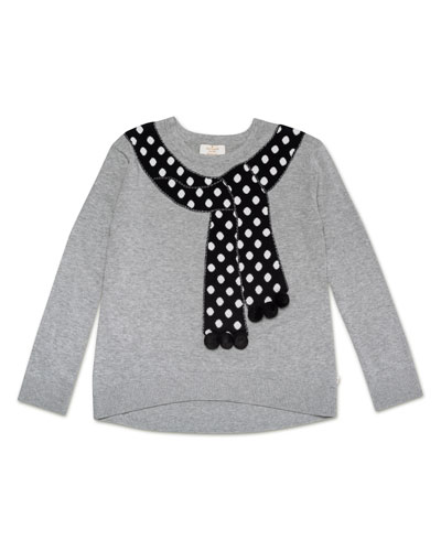 trompe l'oeil polka-dot scarf sweater, size 7-14