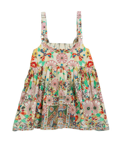 Printed Button-Front Sleeveless Top, Size 4-10