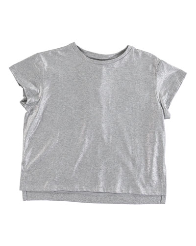 Silver Foil Short-Sleeve Tee, Size 4-14