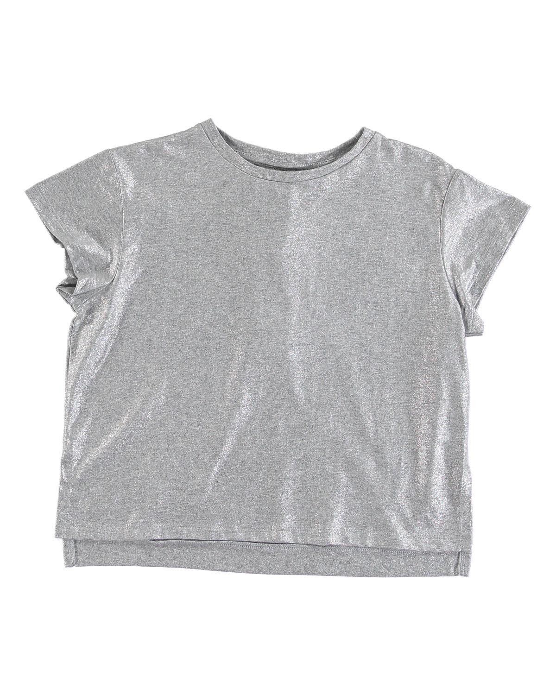 STELLA MCCARTNEY KIDS Silver Foil Short-Sleeve Tee, Size 4-14 in Gray