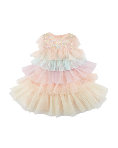 Billieblush Layered Multicolored Tulle Dress, Size 12M-3