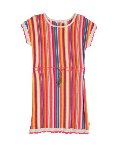 Multicolored Stripe Knit Dress, Size 4-12