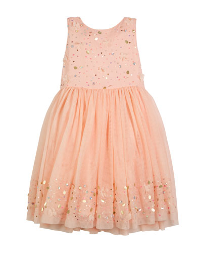 Sequin Embroidered Tulle Dress, Size 4-12