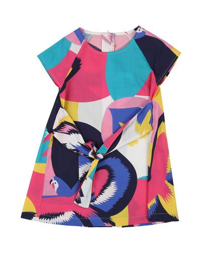 Tie-Front Parrot-Print Dress, Size 4-12
