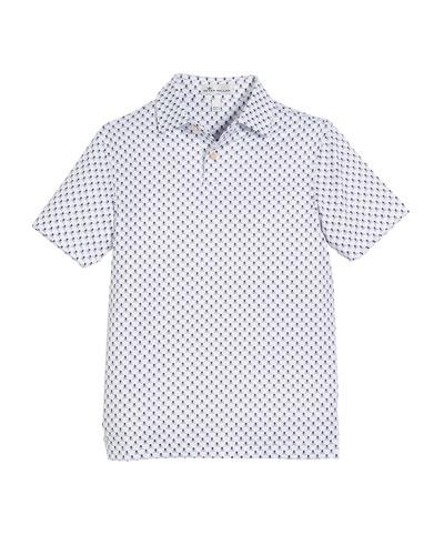 Stretch Jersey Scull-Print Polo Shirt, Size XS-XL